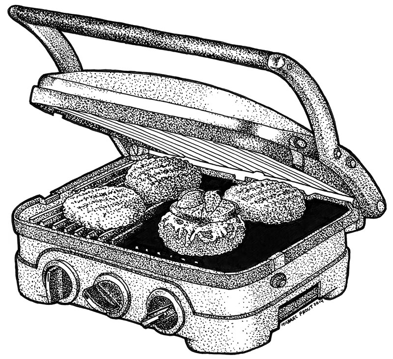Burgers on the Grill - Food Illustration - Pen and Ink