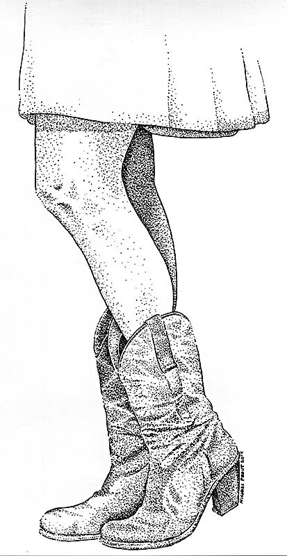 Boots for Cowgirls - Pen and Ink Illustration