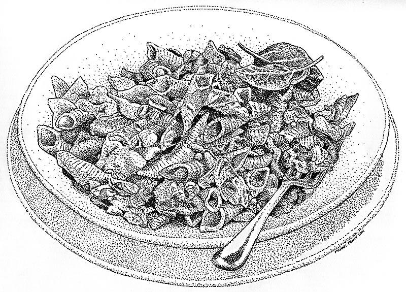 Noodles 3 - Food Illustration - Pen and Ink
