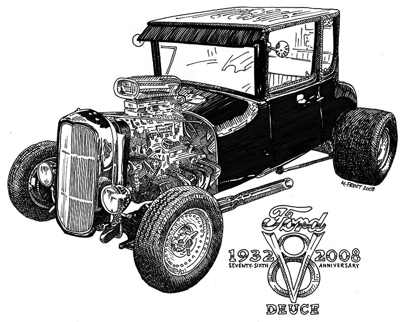 1932 Ford Pen and Ink Illustration